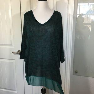 NWOT teal green light knit asymmetrical 26/28